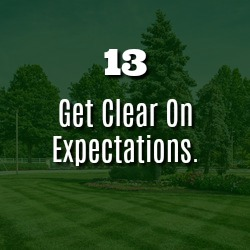 GET CLEAR ON EXPECTATIONS.
